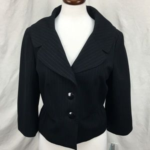 NWT Apt 9 Black Stripe Suiting Jacket Blazer Sz 10
